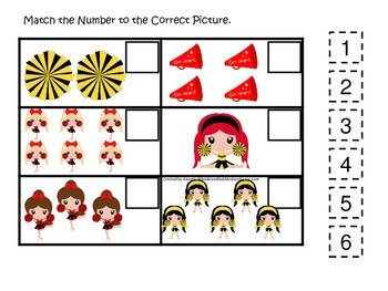 Cheerleaders themed Fill in the Match the Number preschool