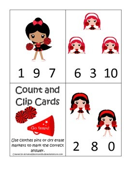 Cheerleaders themed Math Count and Clip Cards preschool pr