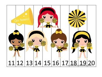Cheerleaders themed Number Sequence Puzzle 11-20 preschool
