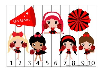 Cheerleaders themed Number Sequence Puzzle preschool print