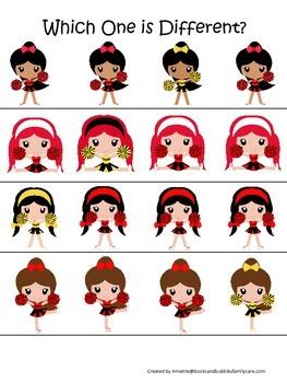 Cheerleaders themed Which One is Different preschool print