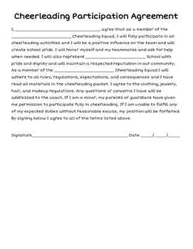 Cheerleading Participation Agreement