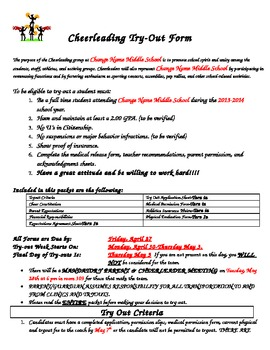 Cheerleading Tryout Form