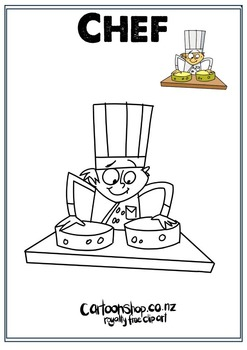 Chef Colouring in Pack [Free - Cartoon Shop]