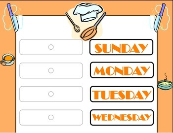 Chef Weekday Chart! Baking Theme Weekday Chart! Baking Che