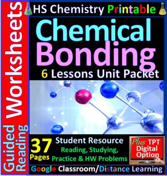 Chemical Bonding 6-Product Bundle: HS Chemistry Notes, Wor