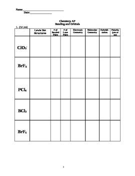 Chemical Bonding and Orbitial Quiz or Exam