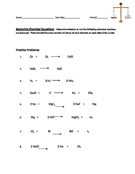 Chemical Equations:  Balanced or Not