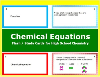 Chemical Equations: Printable Flash (Study) Cards for quiz