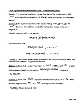 Chemical Equilibirum Numerical Questions Part 1 Solutions