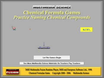 Chemistry - Chemical Formulas Game Software - PC Version