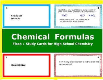 Chemical Formulas: Printable Flash (Study) Cards to study