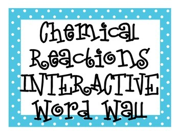 Chemical Reactions INTERACTIVE Word Wall