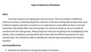 Chemical Reactions Student Investigation Packet