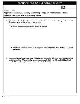 Chemistry 11 Quiz - Molecular and Empirical Formulas