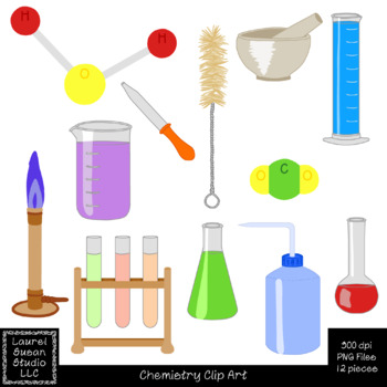 Chemistry Clip Art PNG JPG Commercial Personal Beakers Mol