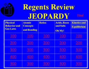 Chemistry Jeopardy Regents Review (High School)