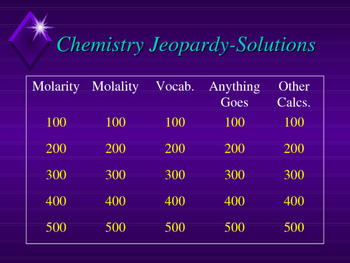Chemistry Jeopardy-Solutions
