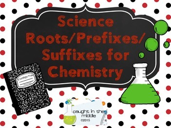 Chemistry Prefixes, Suffixes, and Roots Display Cards