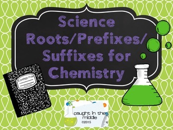 Chemistry Prefixes, Suffixes, and Roots Display Cards (Pur