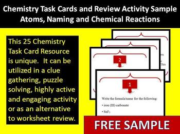 Chemistry Task Cards and Review Activity Sample - Unique a