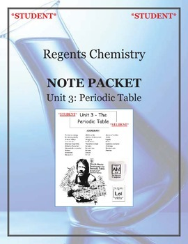 Chemistry - Unit 3: Periodic Table (Note Packet & Practice