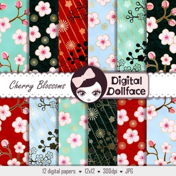 Cherry Blossom Digital Paper, Japanese Patterns