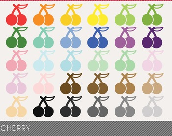 Cherry Digital Clipart, Cherry Graphics, Cherry PNG, Rainb