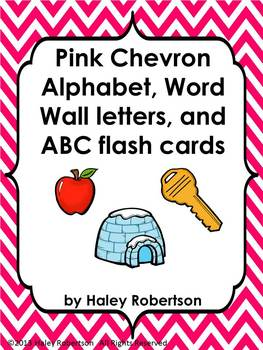 Chevron ABC posters, word wall letters, and ABC flashcards (PINK)