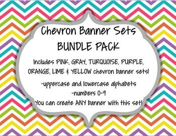 Chevron Alphabet Banner Set Bundle Pack (upper & lowercase