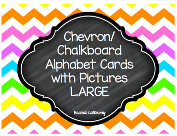 Chevron Alphabet Cards-WITH PICTURES-LARGE