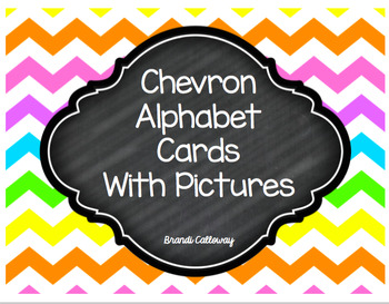 Chevron Alphabet Cards-WITH PICTURES-SMALL