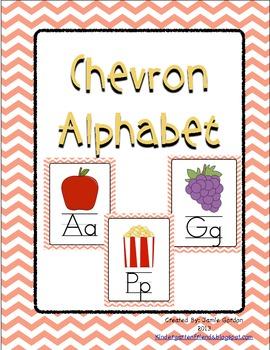Chevron Alphabet Posters - Peach