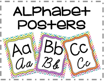 Chevron Alphabet Posters with Print and Cursive