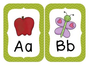 Chevron Alphabet Wall Cards (Green)