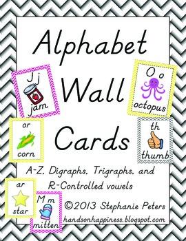 Chevron Alphabet Wall Cards Manuscript~ A-Z, digraphs, tri