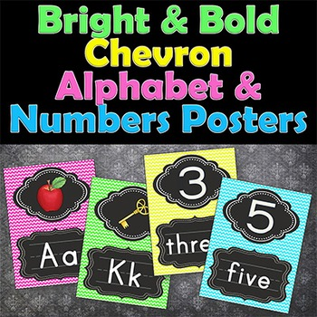 Chevron Alphabet and Numbers Posters