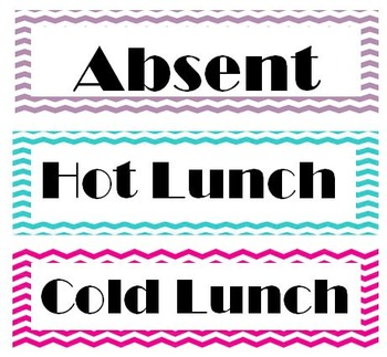 Chevron Attendance and lunch count labels