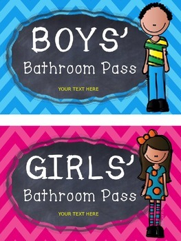 EDITABLE Chevron Bathroom, Hall, and Office Passes