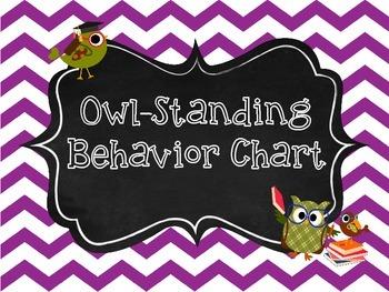 Behavior Chart Owl Theme - Chevron - Clip System