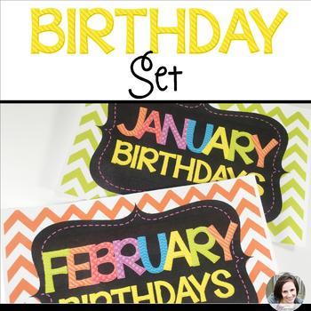 Chevron Birthdays - Bulletin Board Materials and Birthday