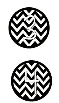 Chevron Black and White Numbers Centers 1-10