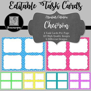 Chevron Blank Task Cards (Basic Colors)