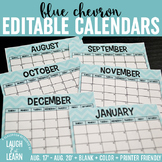 Blank Horizontal Calendar {Blue & Green}