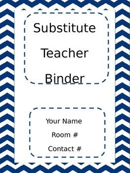 Chevron Blue Substitute Teacher Binder