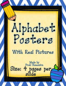 Chevron Blue and Yellow Small Alphabet Posters with Real Pictures