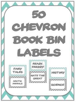 Chevron Large Book Bin Labels