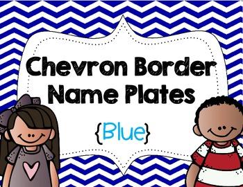 Chevron Border Name Plates {Blue}