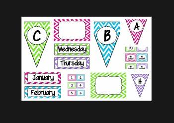 Chevron Bundle (lunch, calendar, subject pennants, word wa