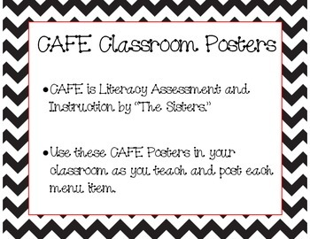 Chevron CAFE Posters- Literacy Instruction Materials